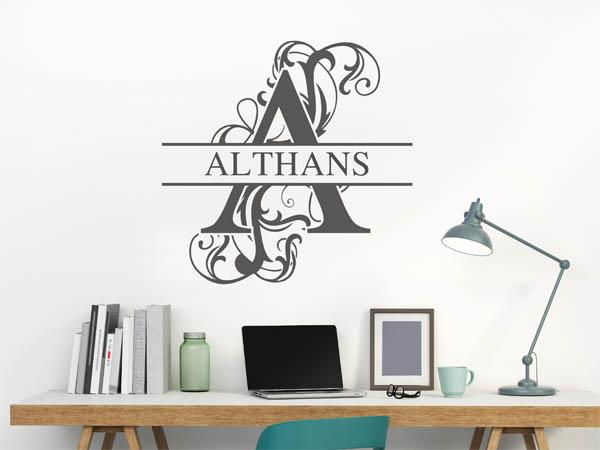 wandtattoo althans als monogramm t rschild oder. Black Bedroom Furniture Sets. Home Design Ideas