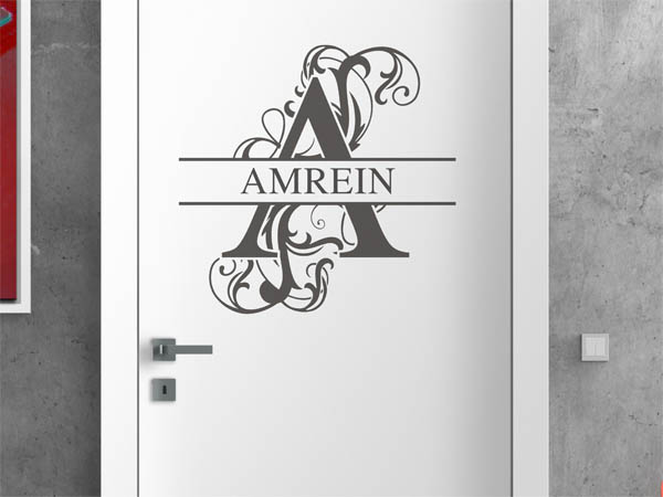 wandtattoo amrein als monogramm t rschild oder familienwappen. Black Bedroom Furniture Sets. Home Design Ideas