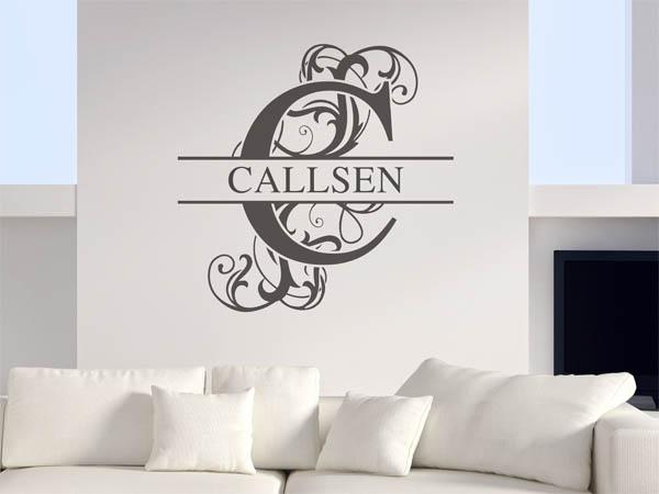 wandtattoo callsen als monogramm t rschild oder familienwappen. Black Bedroom Furniture Sets. Home Design Ideas