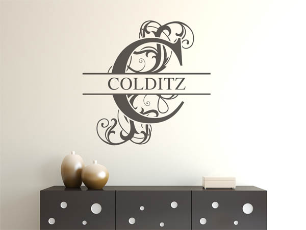wandtattoo colditz nachname als monogramm t rschild oder familienwappen. Black Bedroom Furniture Sets. Home Design Ideas