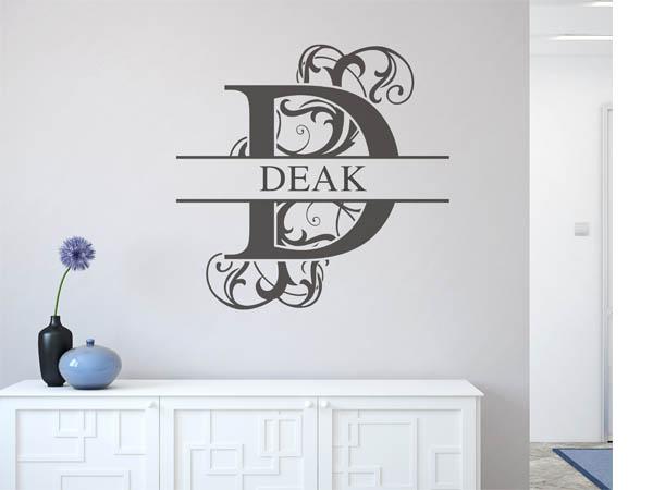wandtattoo deak als monogramm t rschild oder familienwappen. Black Bedroom Furniture Sets. Home Design Ideas
