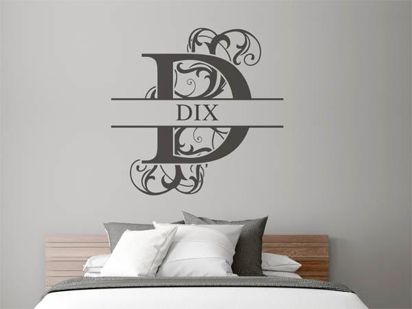 wandtattoo dix als monogramm t rschild oder familienwappen. Black Bedroom Furniture Sets. Home Design Ideas