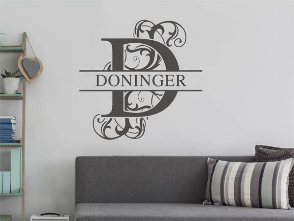 wandtattoo doninger als monogramm t rschild oder. Black Bedroom Furniture Sets. Home Design Ideas