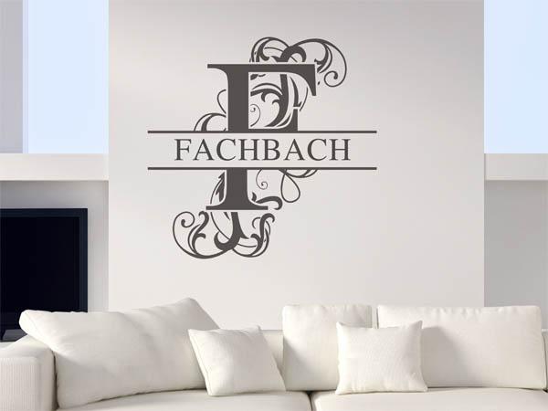 wandtattoo fachbach nachname als monogramm t rschild. Black Bedroom Furniture Sets. Home Design Ideas