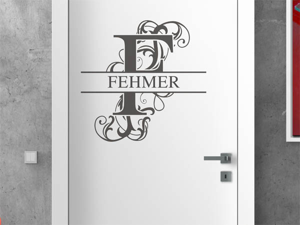 wandtattoo fehmer als monogramm t rschild oder familienwappen. Black Bedroom Furniture Sets. Home Design Ideas
