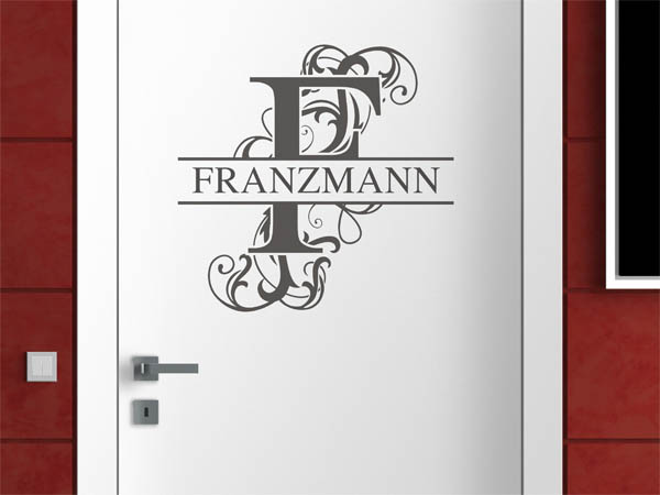 wandtattoo franzmann als monogramm t rschild oder familienwappen. Black Bedroom Furniture Sets. Home Design Ideas