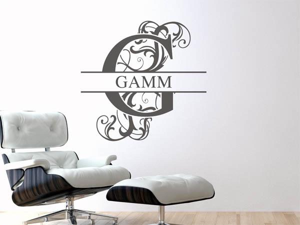 wandtattoo gamm als monogramm t rschild oder familienwappen. Black Bedroom Furniture Sets. Home Design Ideas