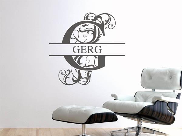 wandtattoo gerg als monogramm t rschild oder familienwappen. Black Bedroom Furniture Sets. Home Design Ideas