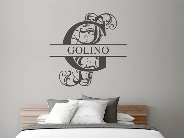 wandtattoo golino als monogramm t rschild oder familienwappen. Black Bedroom Furniture Sets. Home Design Ideas