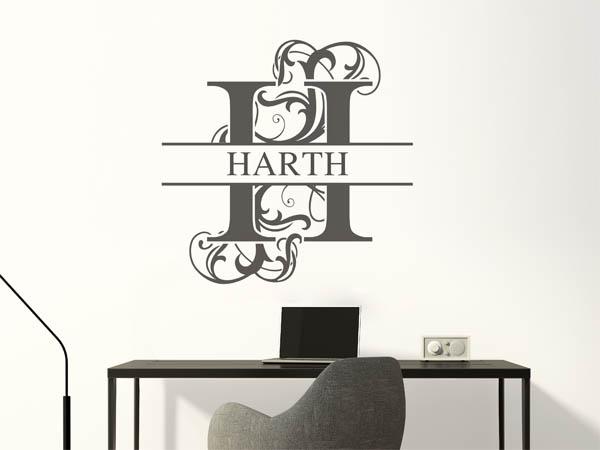 wandtattoo harth als monogramm t rschild oder familienwappen. Black Bedroom Furniture Sets. Home Design Ideas