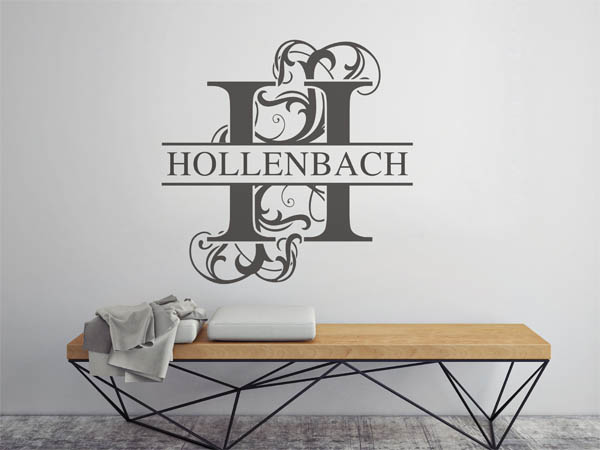 wandtattoo hollenbach nachname als monogramm t rschild. Black Bedroom Furniture Sets. Home Design Ideas