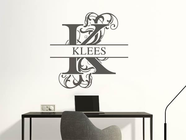 wandtattoo klees als monogramm t rschild oder familienwappen. Black Bedroom Furniture Sets. Home Design Ideas