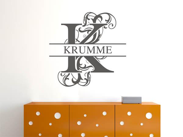 wandtattoo krumme als monogramm t rschild oder familienwappen. Black Bedroom Furniture Sets. Home Design Ideas