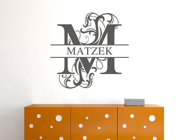 wandtattoo matzek als monogramm t rschild oder familienwappen. Black Bedroom Furniture Sets. Home Design Ideas