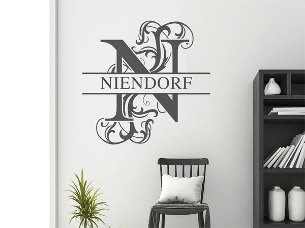 wandtattoo niendorf nachname als monogramm t rschild. Black Bedroom Furniture Sets. Home Design Ideas