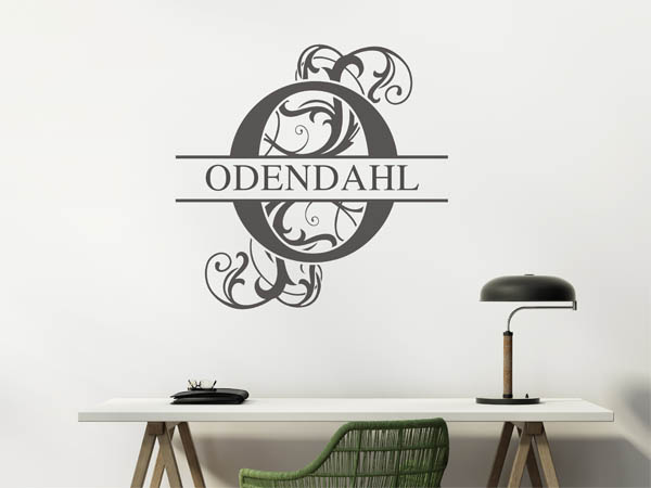 wandtattoo odendahl als monogramm t rschild oder. Black Bedroom Furniture Sets. Home Design Ideas