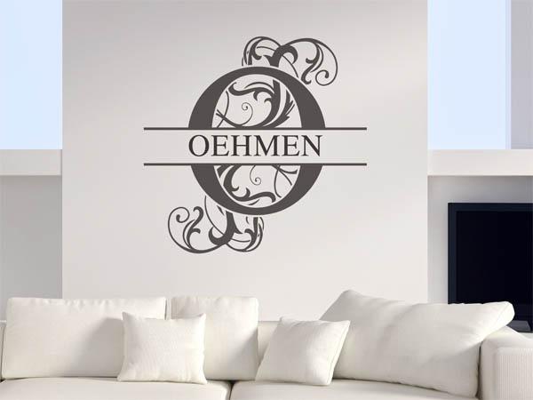 wandtattoo oehmen als monogramm t rschild oder familienwappen. Black Bedroom Furniture Sets. Home Design Ideas