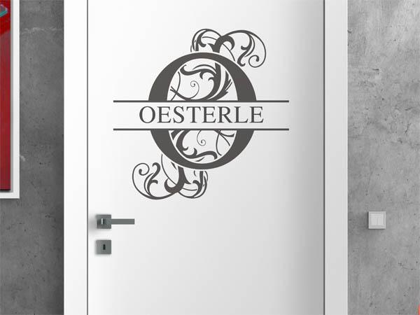 wandtattoo oesterle nachname als monogramm t rschild. Black Bedroom Furniture Sets. Home Design Ideas