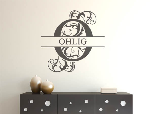 wandtattoo ohlig als monogramm t rschild oder familienwappen. Black Bedroom Furniture Sets. Home Design Ideas