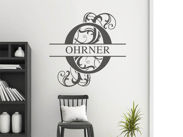 wandtattoo ohrner als monogramm t rschild oder familienwappen. Black Bedroom Furniture Sets. Home Design Ideas