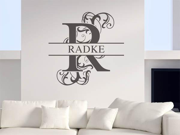 wandtattoo radke als monogramm t rschild oder familienwappen. Black Bedroom Furniture Sets. Home Design Ideas