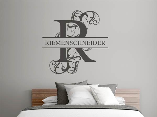 wandtattoo riemenschneider nachname als monogramm. Black Bedroom Furniture Sets. Home Design Ideas