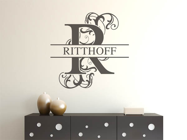 wandtattoo ritthoff als monogramm t rschild oder familienwappen. Black Bedroom Furniture Sets. Home Design Ideas