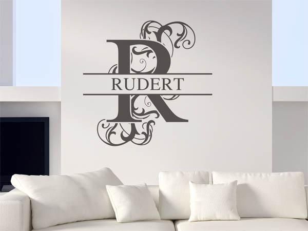 wandtattoo rudert als monogramm t rschild oder familienwappen. Black Bedroom Furniture Sets. Home Design Ideas