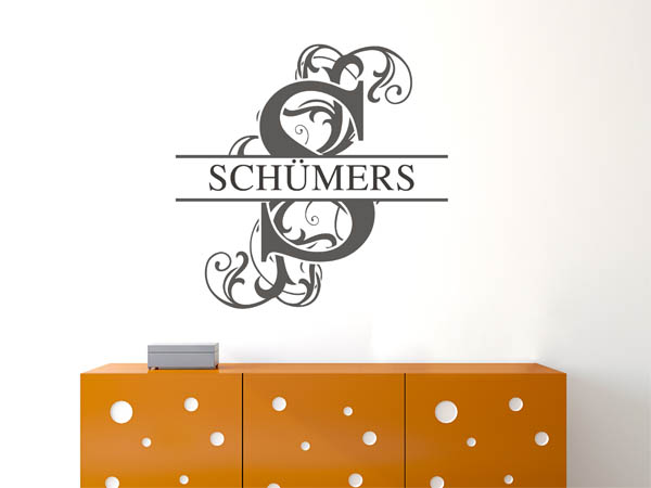 wandtattoo sch mers nachname als monogramm t rschild. Black Bedroom Furniture Sets. Home Design Ideas