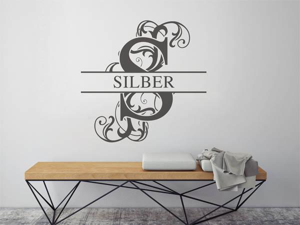 wandtattoo silber als monogramm t rschild oder familienwappen. Black Bedroom Furniture Sets. Home Design Ideas