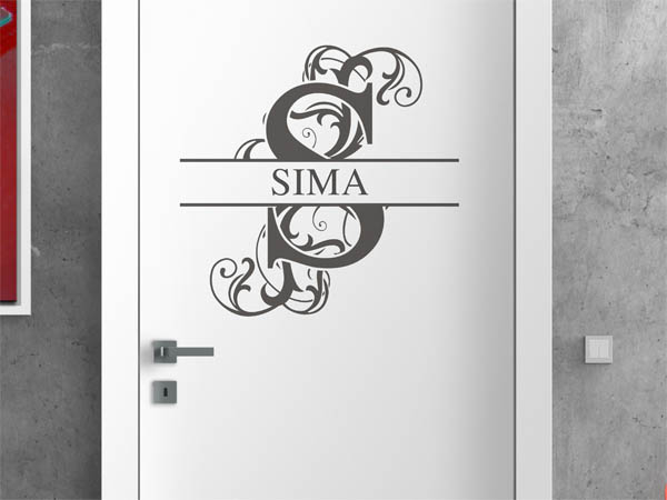 wandtattoo sima als monogramm t rschild oder familienwappen. Black Bedroom Furniture Sets. Home Design Ideas