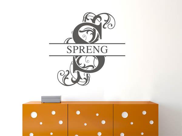 wandtattoo spreng als monogramm t rschild oder familienwappen. Black Bedroom Furniture Sets. Home Design Ideas