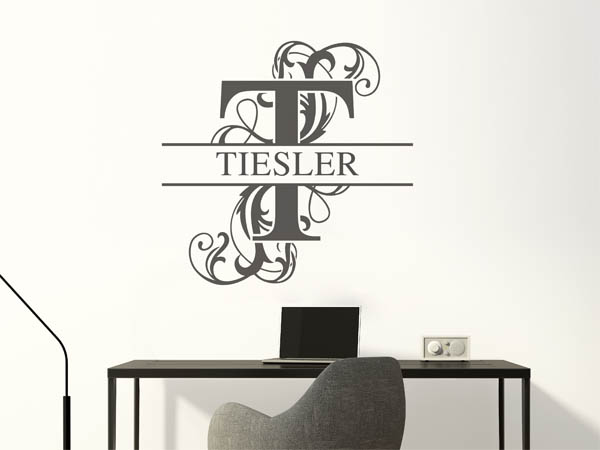 wandtattoo tiesler nachname als monogramm t rschild oder familienwappen. Black Bedroom Furniture Sets. Home Design Ideas