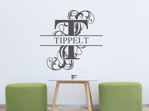 wandtattoo tippelt als monogramm t rschild oder. Black Bedroom Furniture Sets. Home Design Ideas
