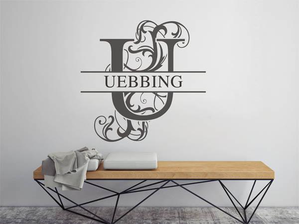 wandtattoo uebbing als monogramm t rschild oder familienwappen. Black Bedroom Furniture Sets. Home Design Ideas