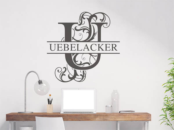 wandtattoo uebelacker als monogramm t rschild oder familienwappen. Black Bedroom Furniture Sets. Home Design Ideas