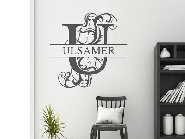 wandtattoo ulsamer nachname als monogramm t rschild. Black Bedroom Furniture Sets. Home Design Ideas