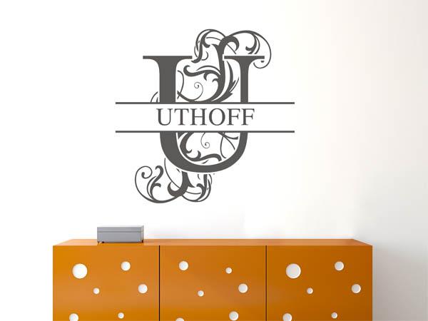 wandtattoo uthoff als monogramm t rschild oder familienwappen. Black Bedroom Furniture Sets. Home Design Ideas