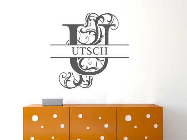 wandtattoo utsch als monogramm t rschild oder familienwappen. Black Bedroom Furniture Sets. Home Design Ideas