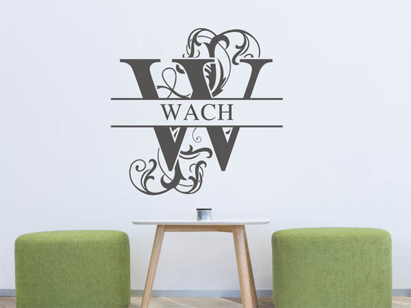wandtattoo wach als monogramm t rschild oder familienwappen. Black Bedroom Furniture Sets. Home Design Ideas