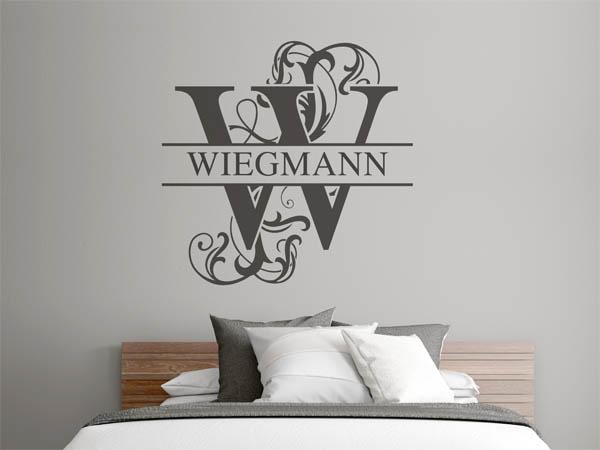 wandtattoo wiegmann als monogramm t rschild oder. Black Bedroom Furniture Sets. Home Design Ideas