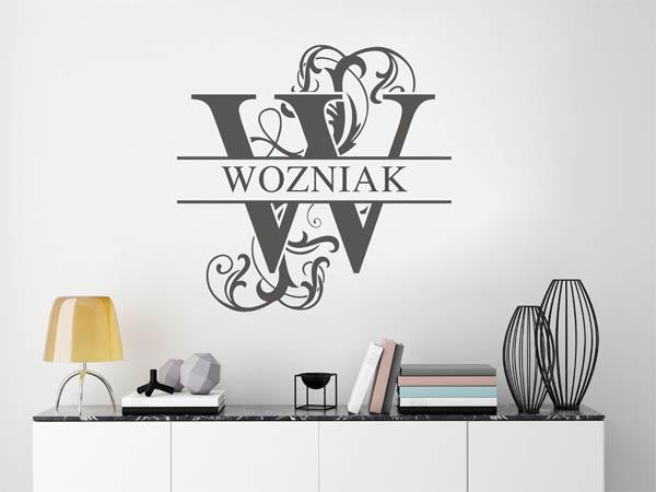 wandtattoo wozniak als monogramm t rschild oder. Black Bedroom Furniture Sets. Home Design Ideas