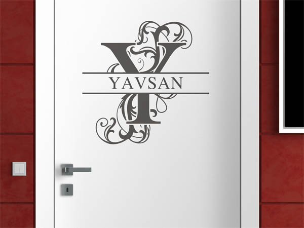 wandtattoo yavsan als monogramm t rschild oder familienwappen. Black Bedroom Furniture Sets. Home Design Ideas