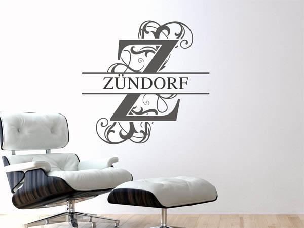 wandtattoo z ndorf als monogramm t rschild oder. Black Bedroom Furniture Sets. Home Design Ideas