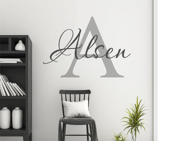 wandtattoo alsen als monogramm t rschild oder familienwappen. Black Bedroom Furniture Sets. Home Design Ideas