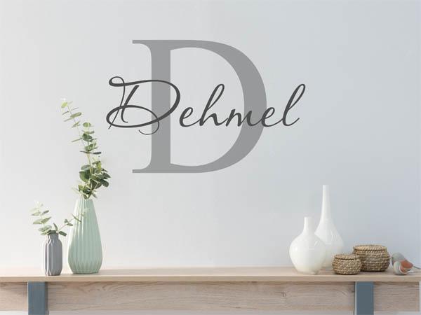 wandtattoo dehmel als monogramm t rschild oder familienwappen. Black Bedroom Furniture Sets. Home Design Ideas