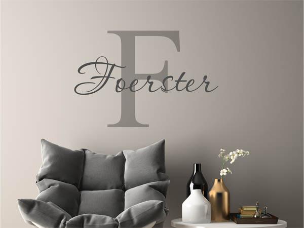 wandtattoo foerster als monogramm t rschild oder. Black Bedroom Furniture Sets. Home Design Ideas