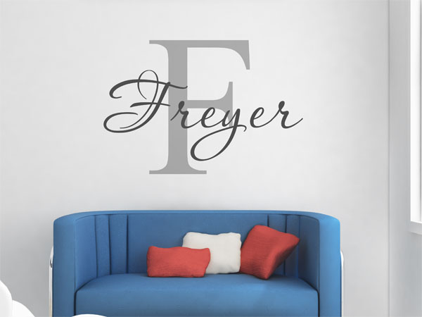 wandtattoo freyer als monogramm t rschild oder familienwappen. Black Bedroom Furniture Sets. Home Design Ideas