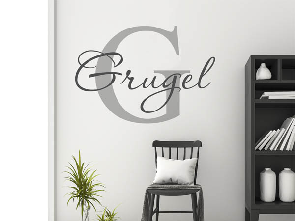 wandtattoo grugel nachname als monogramm t rschild oder. Black Bedroom Furniture Sets. Home Design Ideas