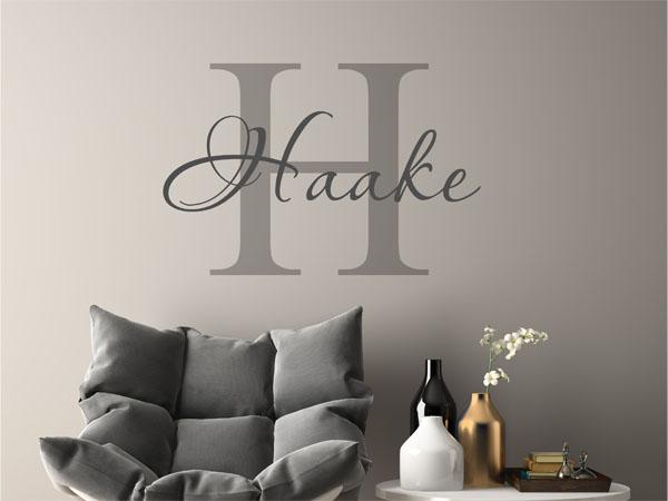 wandtattoo haake als monogramm t rschild oder familienwappen. Black Bedroom Furniture Sets. Home Design Ideas